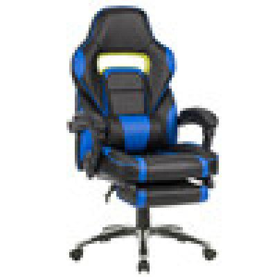 (US ML-7384 BLUE) LANGRIA Ergonomic High-Back Faux Leather Racing Style Reclining Computer Gaming Executive Office Chair with Padded Footrest and Lumber Cushion, Adjustable Seat Height, 360 Degree Swi