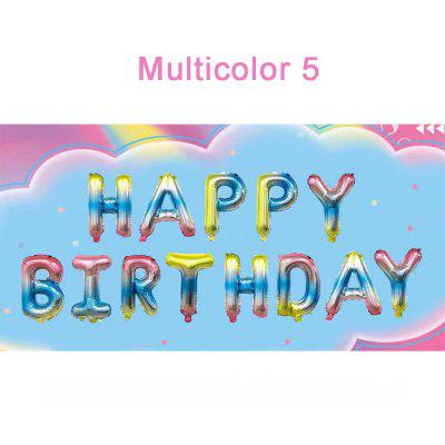 16 Inch Colorful Happy Birthday Balloon Banner Balloon Bunting Birthday Party Aluminum Balloon Set Self Inflating