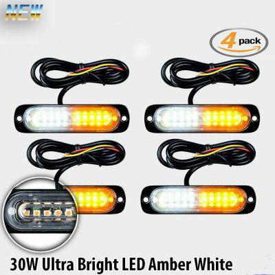 1pcs 10 LED Strobe Lights Emergency Flashing Warning Beacon White Amber 12V 24V