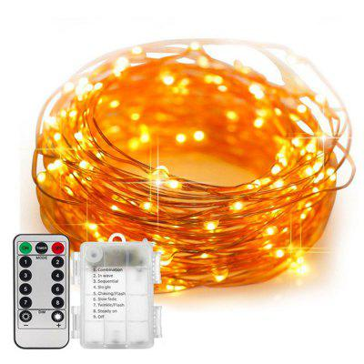 5M/10M 100 Led Fairy Lights 8 Flashing Modes Battery Operated With Remote Control Timer Waterproof Copper Wire Twinkle String Lights For Bedroom Indoor Christmas Decoration