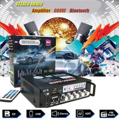 600W HiFi bluetooth Stereo Audio Amplifier Car Home Music SD USB FM 12V/220V UK
