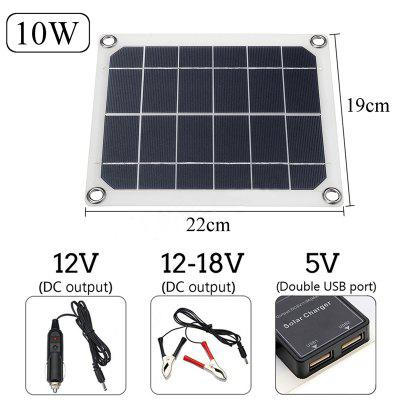 10W 12-18V Solar Panel DC/USB Charging Dual USB Port Camping Traveling