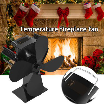 4-blade Fireplace Fan Energy-saving Low Noise Temperature Digital Display Thermal Home Tools