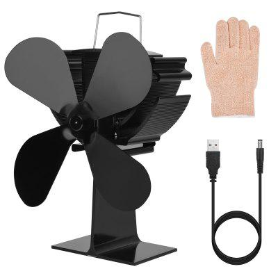 4-blade Fireplace Fan Energy-saving Low Noise Multifunctional Fan Tools for Summer & Winter