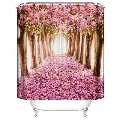 Bathroom Shower Curtain Flower Tree Printing Waterproof Toilet Cover Mat Non-Slip Bathroom Rug Set bohemian floral antiskid bath rug