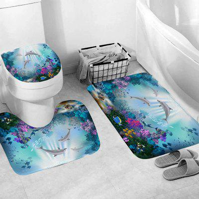 Waterproof Bathroom Shower Curtain Dolphin Sea Printing Toilet Cover Mat Non-Slip Bathroom Rug Set bohemian floral antiskid bath rug