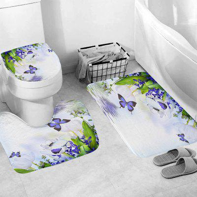 Waterproof Bathroom Shower Curtain Purple Butterfly Printing Toilet Cover Mat Non-Slip Rug Set