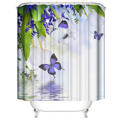 Waterproof Bathroom Shower Curtain Purple Butterfly Printing Toilet Cover Mat Non-Slip Bathroom Rug Set bohemian floral antiskid bath rug