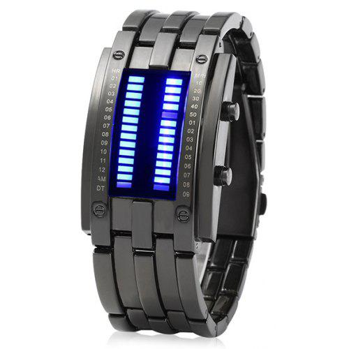 Date Binary Digital Led Bracelet Watch For Men With Two Lines Display