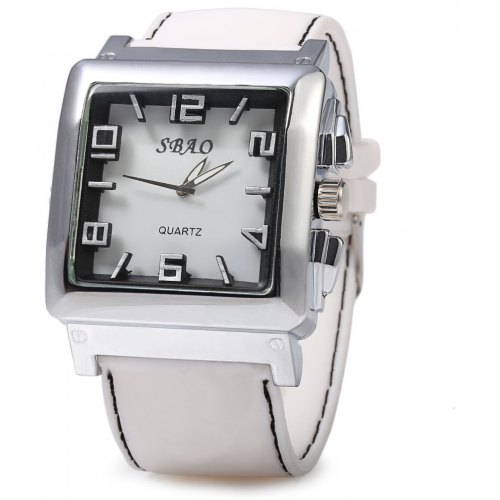 SBAO Rectangle Dial Quartz Male Watch with Rubber Band - 0.00 ... abef36233f2