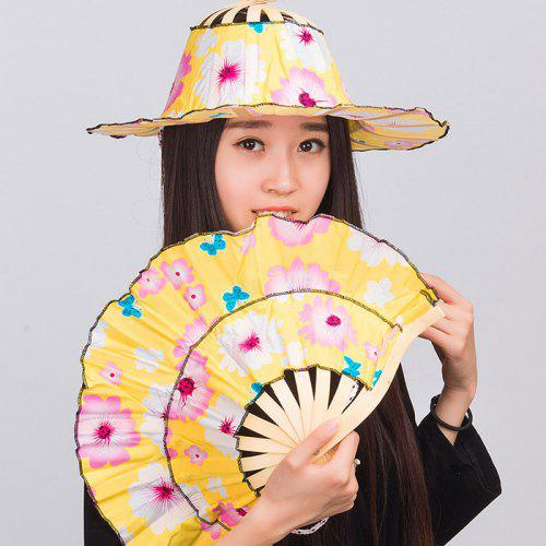 89a18f95 2 in 1 Bamboo Folding Fan Hat for Summer | Gearbest