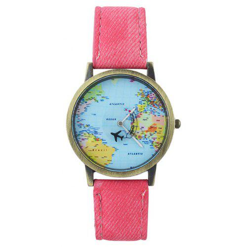 Faux Leather Airplane World Map Watch - $3.83 Free Shipping GearBest.com