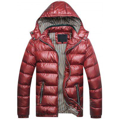 Zipper Contrast Slim Fit Quilted Jacket 4525 Free Shipping
