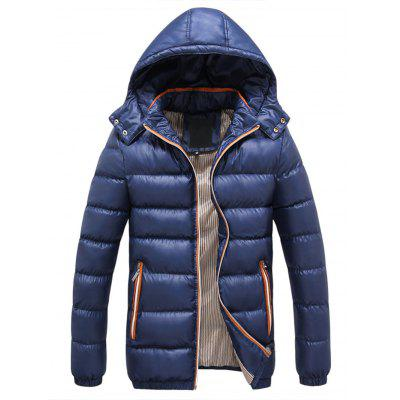 Zipper Contrast Slim Fit Quilted Jacket