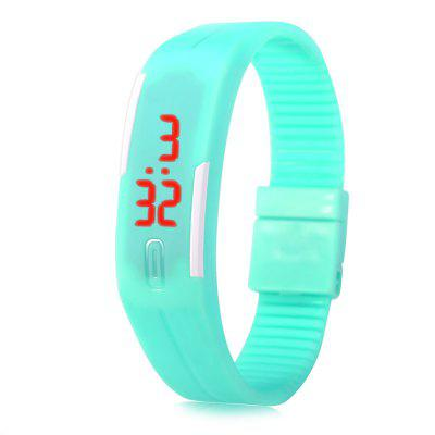 LED Watch Date Rood Digitale Rechthoek Dial Rubber Band