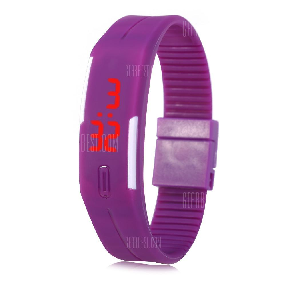 PURPLE LED Watch Date Red Digital Rectangle Dial Rubber Band