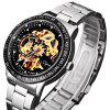 Jijia 8010 Men Mechanical Watch Self - winding Hollow - out Round Dial Stainless Steel Wristband - BLACK