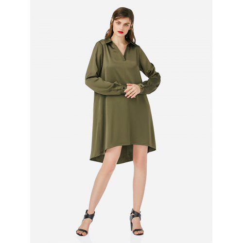 9293033ab4a8 Women V Neck Army Green Shirt Dress -  9.87 Free Shipping