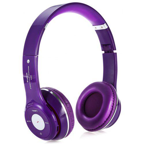 S460 Extensible Bluetooth Hands Free Stereo Headset FM Music Purple Headphones with Mic 3.5mm Jack