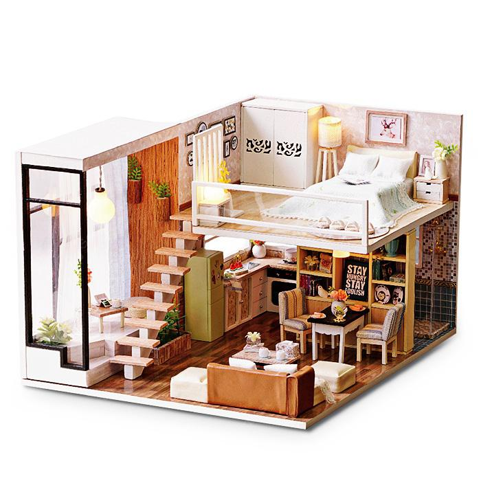 Diy Wooden Miniature Dollhouse With Led Light