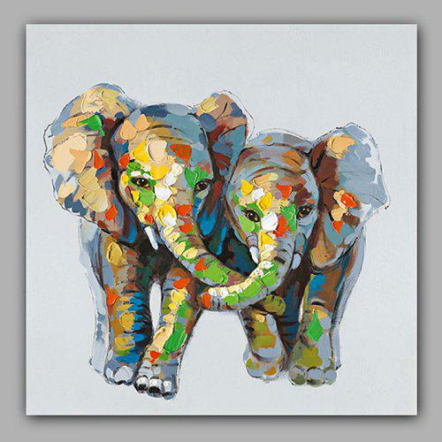Happy Art Hand Painted Elephant Animal Oil Painting Decorative Wall Art