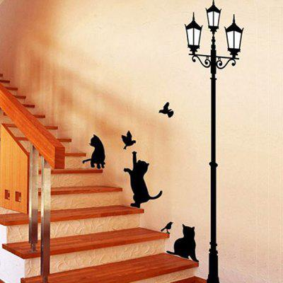 YEDUO Cartoon Black Cat Pattern Decoration Wall Sticker