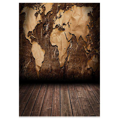 World Map Wood Floor Photography Backdrop Cloth | Gearbest