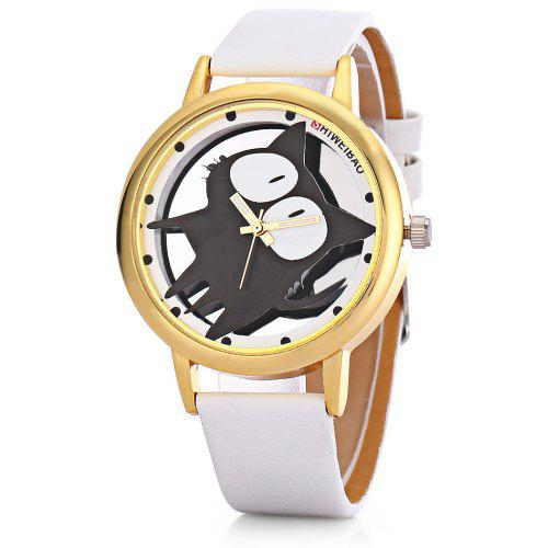 SHI WEI BAO A7741 Leather Strap Round Dial Quartz Watch