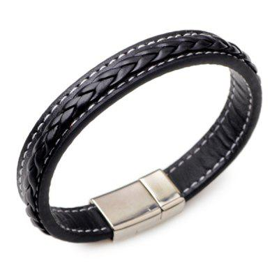 Men trendy Genuine Leather Braided Bracelet