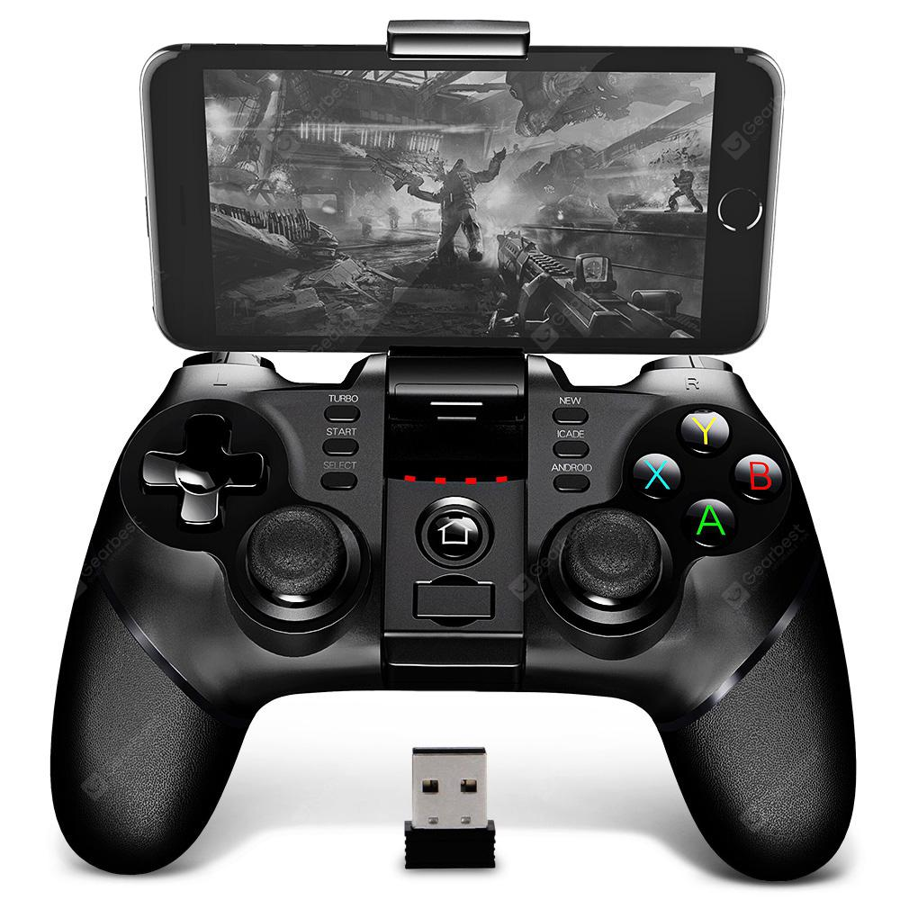 Gearbest iPega PG - 9076 2.4G Wireless Bluetooth Gamepad with Bracket - BLACK