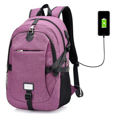Men Casual Durable Canvas Backpack with USB Port