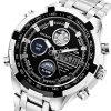 Quamer SD - 165 Dual Movt Male Watch - SILVER AND BLACK