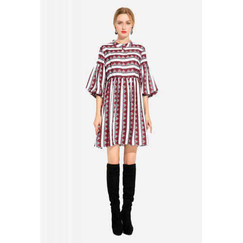 Plus Size Lantern Sleeves Printed Elastic Waist Smock Dress