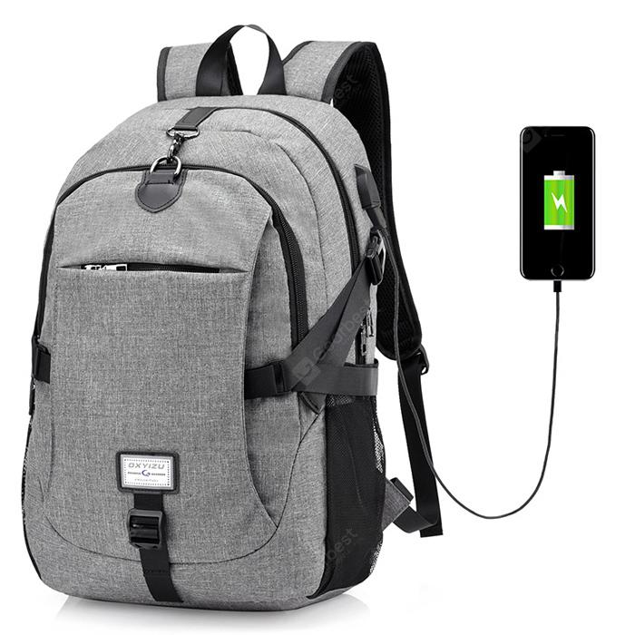 Men Casual Durable Canvas Backpack with USB Port  3Sep