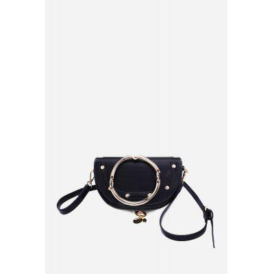 Simple Creative Fashion PU Crossbody Bag with Portable Round Ring