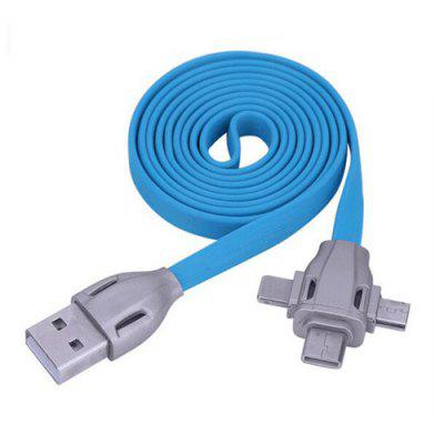 3 en 1 2.1A Tipo-C / Micro USB / 8 Pin Combo Cable USB plano