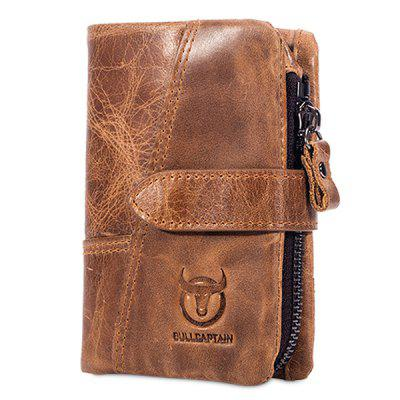 BULLCAPTAIN Vintage Genuine Leather Bifold Male Wallet with Buckle