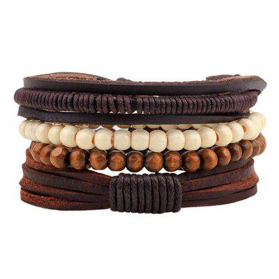 Men Casual Wood Bead Braided Bracelet
