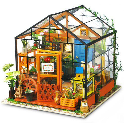 Robotime Diy Miniature Dollhouse Furniture Kit Greenhouse