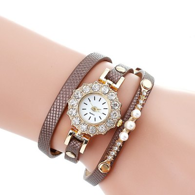 Stylish Multilayer PU Strap Women Quartz Watch
