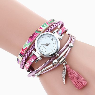 Unique Women PU Strap Bracelet Wrist Quartz Watch
