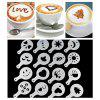 Creative Plastic Garland Coffee Printing Mold Stencils 16pcs - WHITE