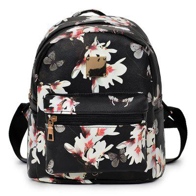 Woman Casual Butterfly Flower Strap Backpack