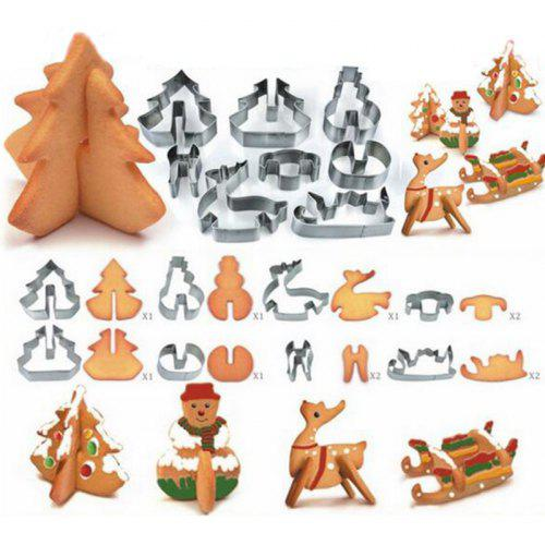Gearbest Hoard 8PCS 3D Christmas Scenario Cookie Cutter Mold Set Stainless Steel Fondant Cake Mould - SILVER