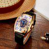 SEWOR SW036003 Leather Band Mechanical Men Watch - GOLD AND BLACK