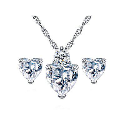 Elegant Pendant Necklace Earrings Women Jewelry Set