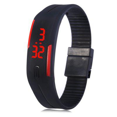 LED Watch Date Red Digital Rectangle Dial Rubber Band -  Black