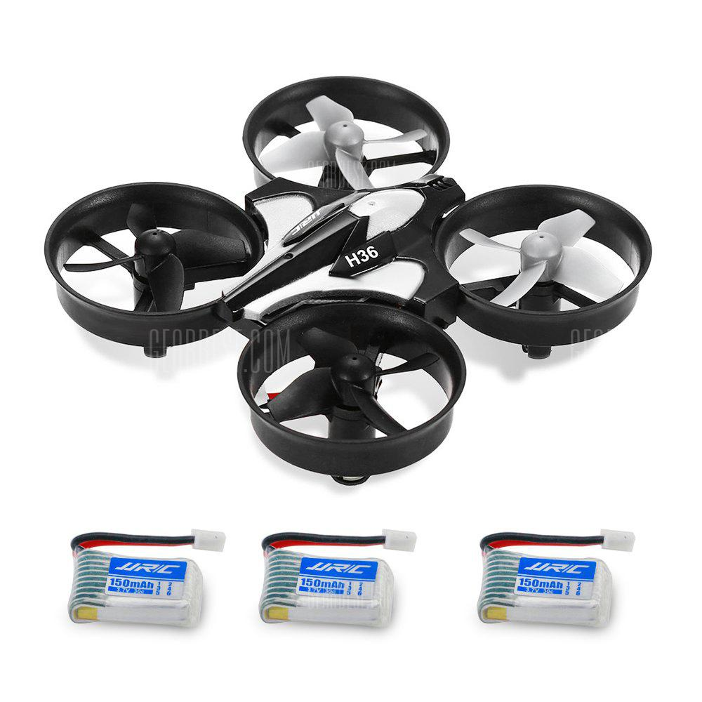 JJRC H36 Mini RC Drone - GRAY WITH THREE BATTERIES