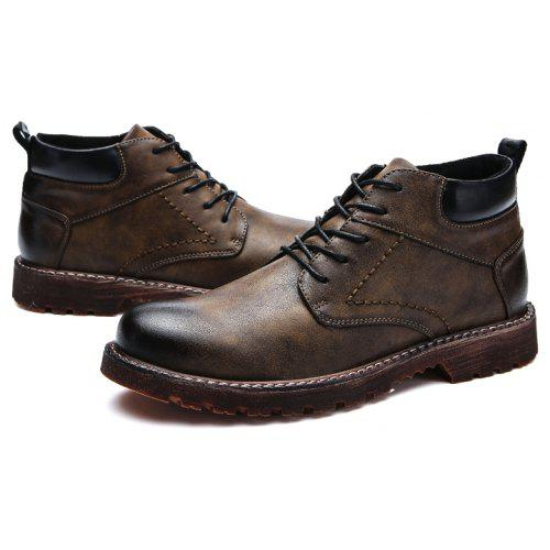 Male British Brush Toe Grained Ankle top Boots