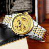 TEVISE Trendy Steel Band Men Mechanical Watch - SILVER BAND GOLDEN DIAL